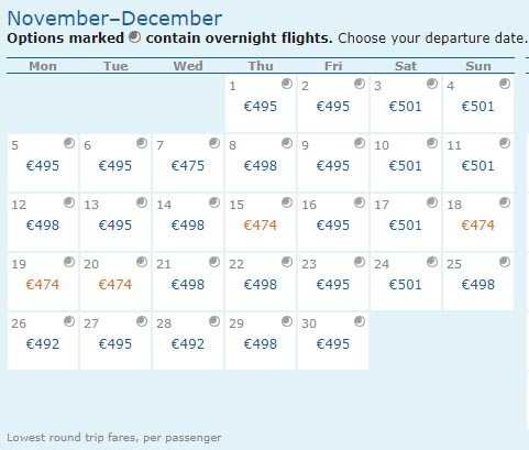 flight calendar ita matrix
