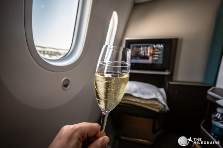 champagne glass plane