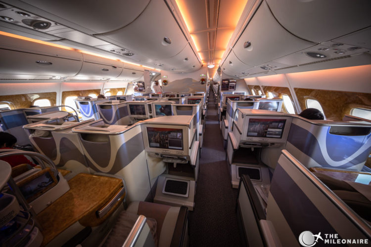 emirates a380 business cabin