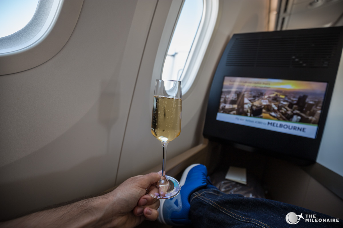 etihad business class champagne