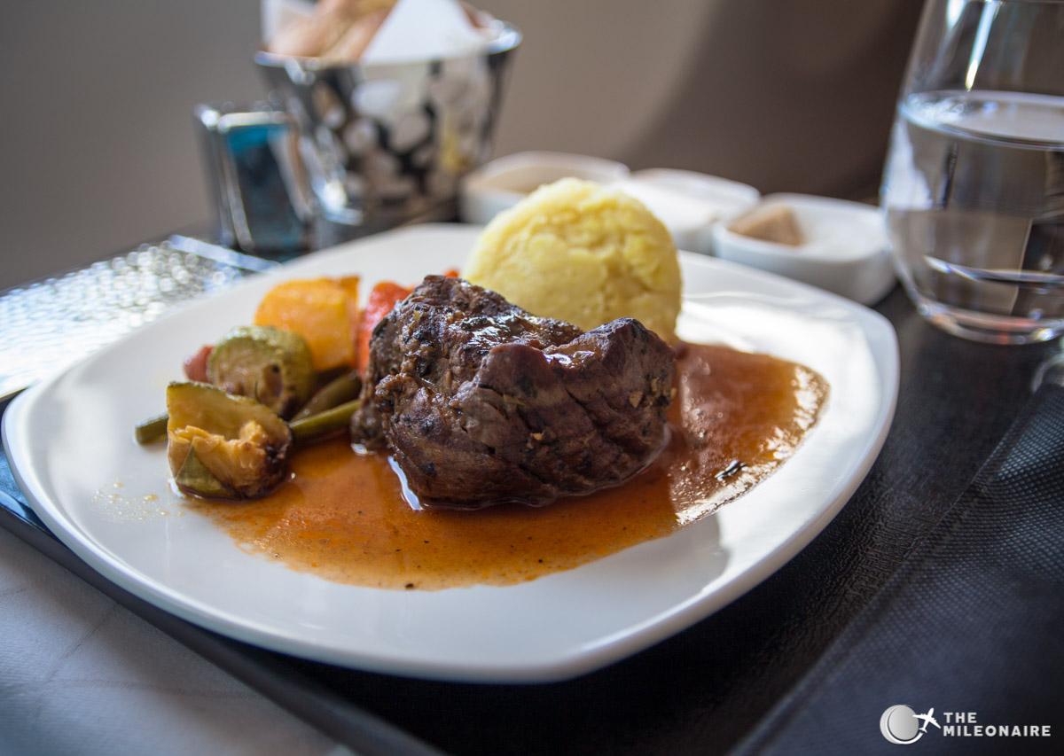 etihad business class steak