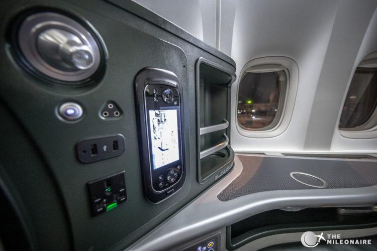 eva air business seat controls