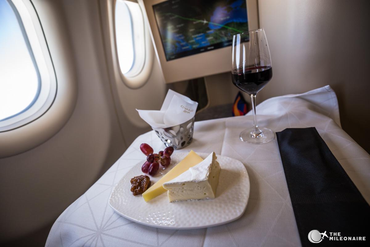 cheese plate etihad business airbus