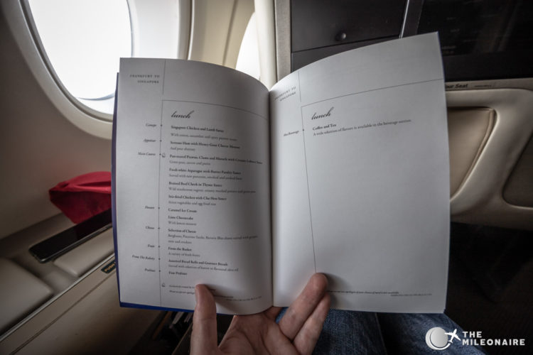 singapore airlines menu