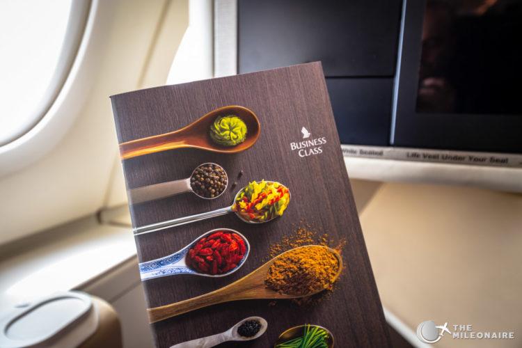 singapore business class menu